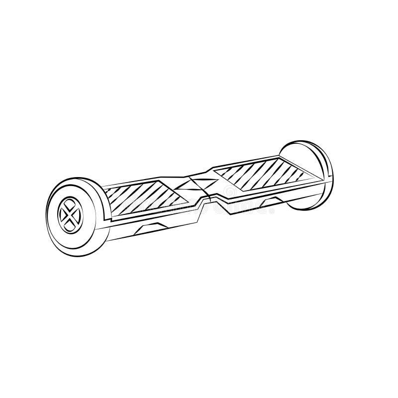 Giroskuter preto em um estilo linear Esboço de meios de transporte modernos esboço ilustração do vetor