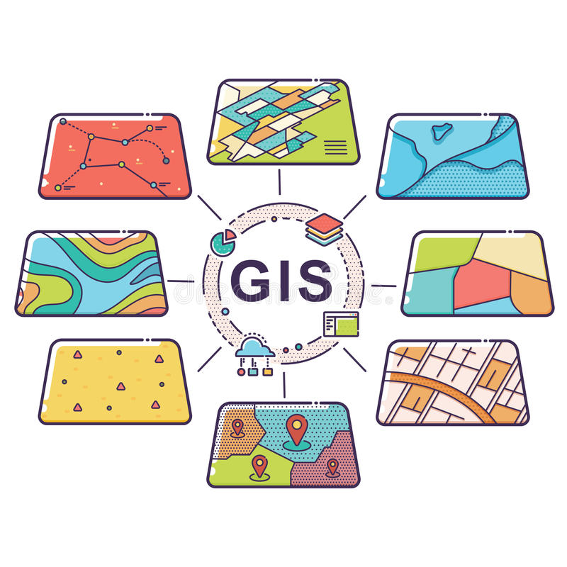 GIS Concept Data Layers for Infographic stock illustration