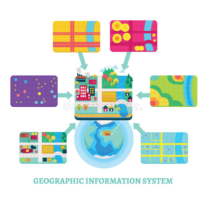 GIS Concept Data Layers For Infographic Stock Vector - Illustration