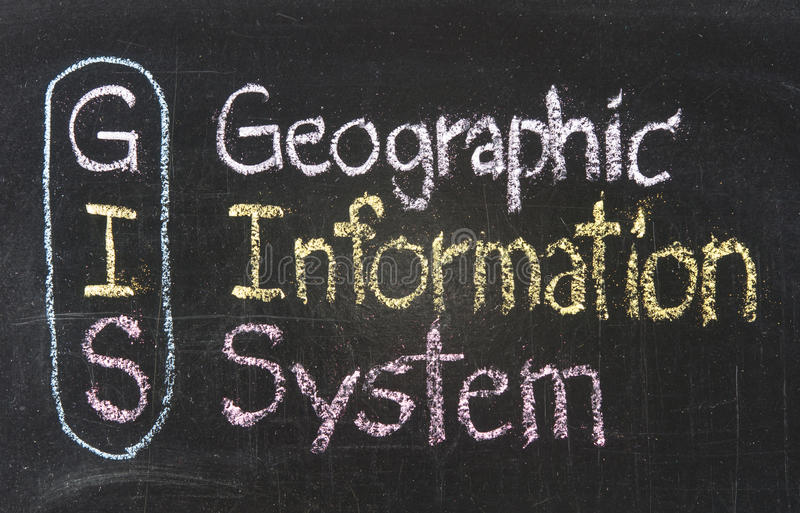 GIS, Geographic Information System. Written on the chalkboard stock image