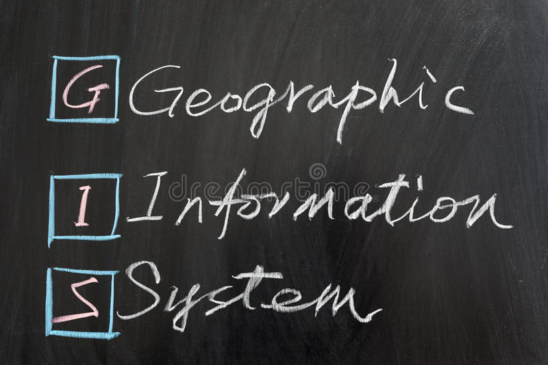 GIS, Geographic Information System. Written on the chalkboard stock photo