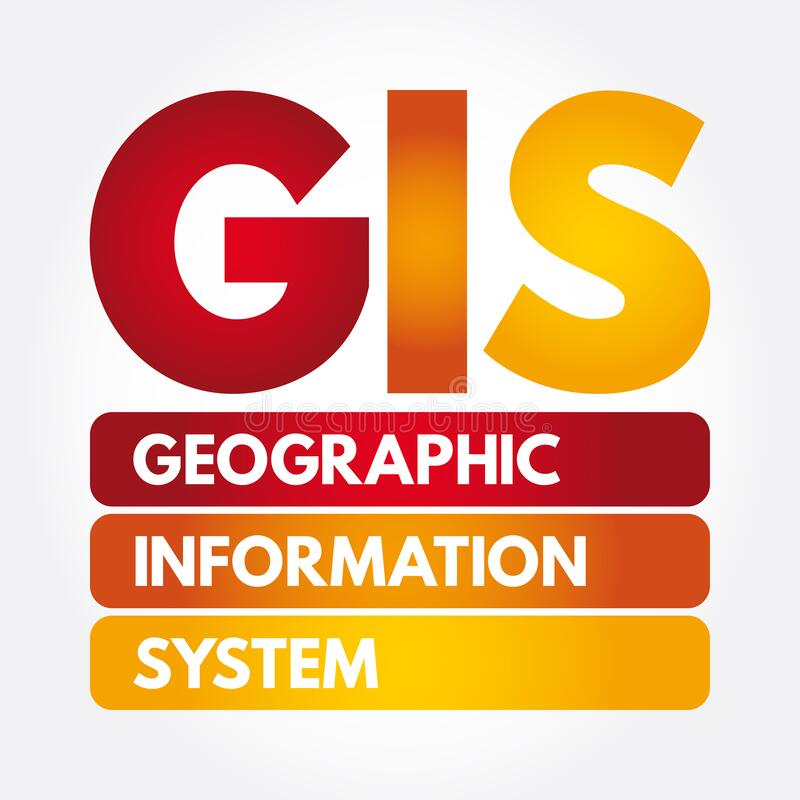Free GIS - Geographic Information System Acronym, Concept Background Stock Photo - 214076820