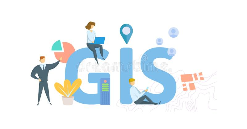 GIS, geographic information system. Concept with people, letters and icons. Flat vector illustration. Isolated on white. GIS, geographic information system vector illustration