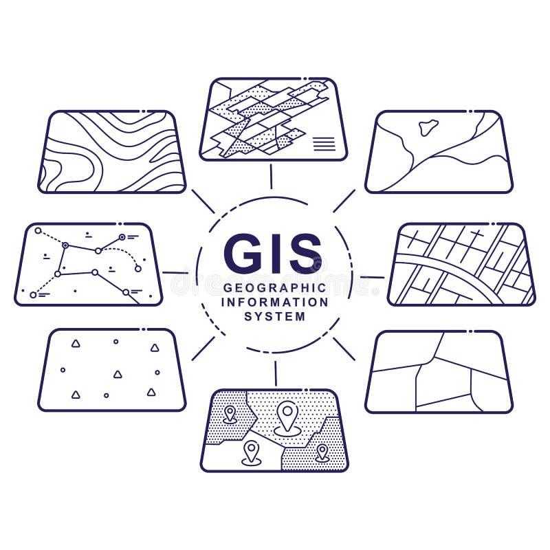 GIS Konzept-Daten-Schichten für Infographic stock abbildung