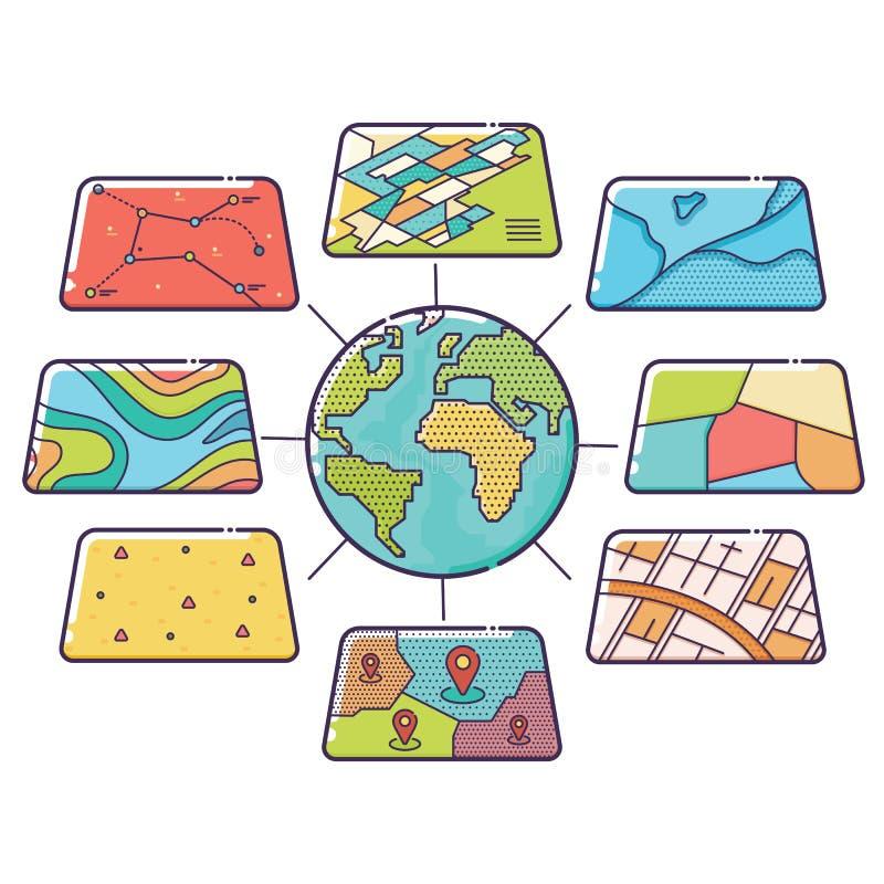 GIS pojęcia dane warstwy dla Infographic obraz royalty free