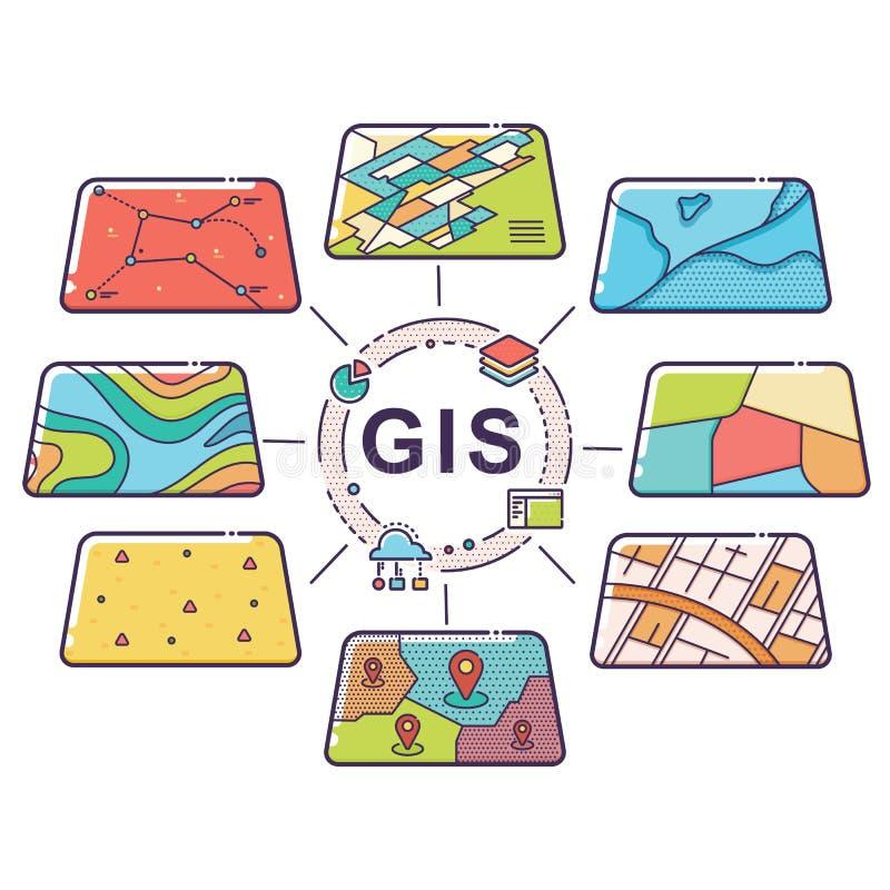 GIS pojęcia dane warstwy dla Infographic zdjęcia royalty free