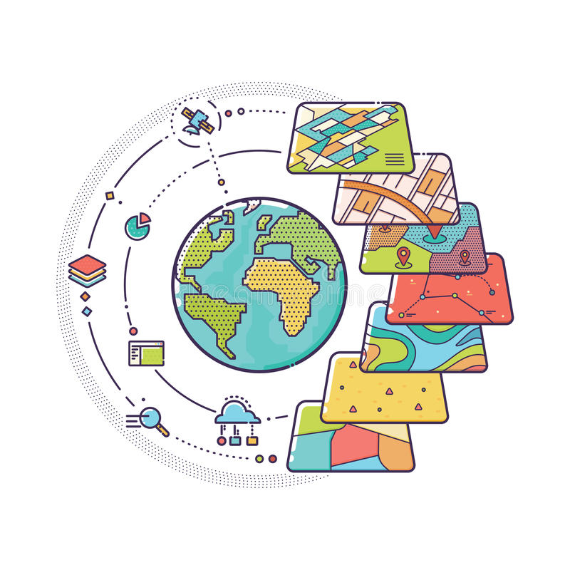 GIS pojęcia dane warstwy dla Infographic zdjęcia stock