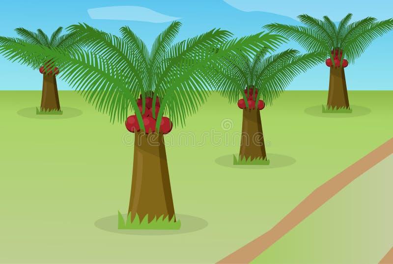 Gisement africain de palmier à huile, vecteur illustration de vecteur