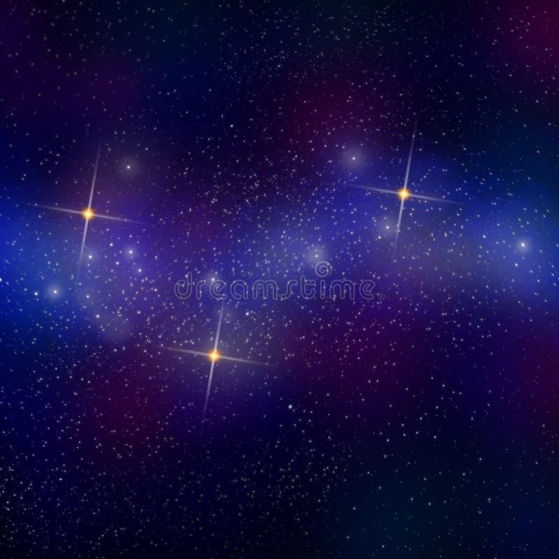 Gisement d'étoile dans une nébuleuse des gaz interstellaires et de trois starbursts photographie stock
