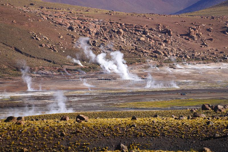 Gisement de geyser d'EL Tatio, désert d'Atacama, Chili photographie stock