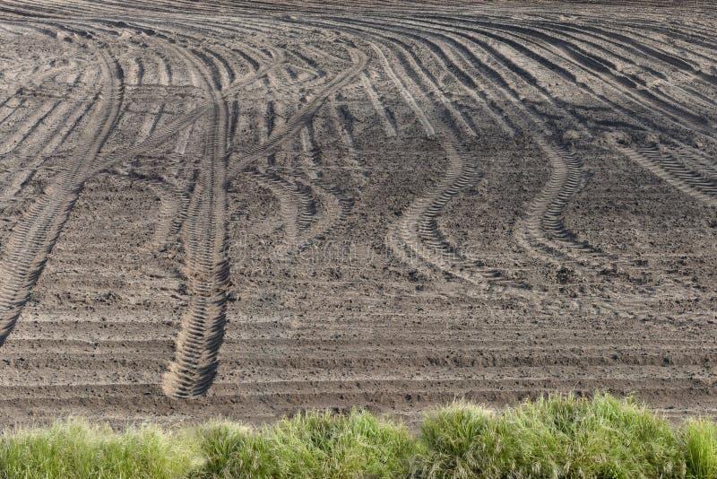 Gisement labouré de tracteur Traces des pneus au sol semailles photographie stock libre de droits