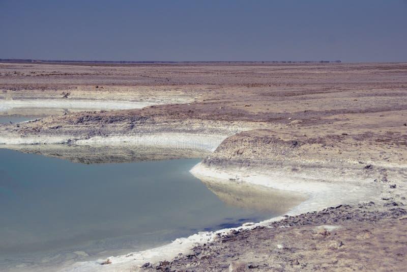 Gisements de sel sur le chemin à Nada Bet Indo-Pak Border Zero Line photo stock