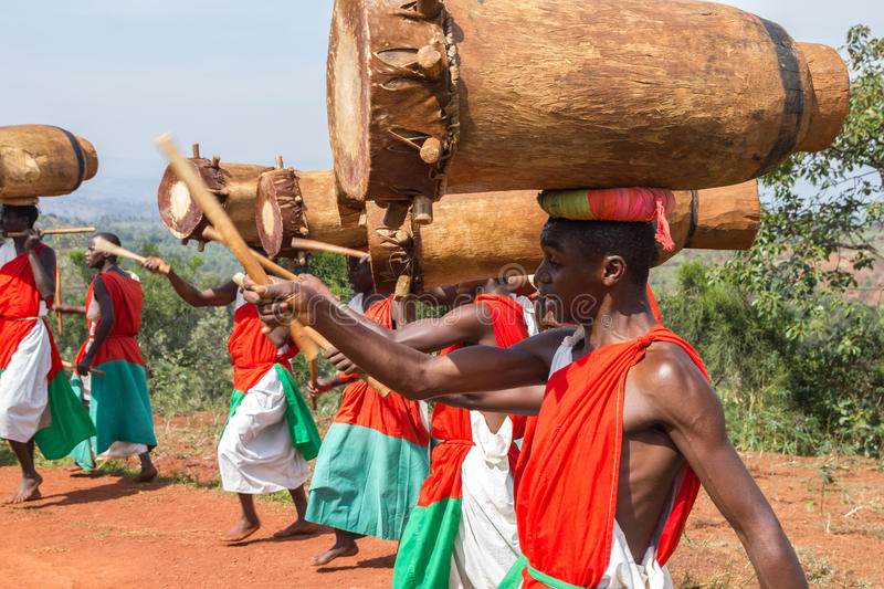 Gishora Drummer in Burundi. Drummers of the gishora drumming group stock photography