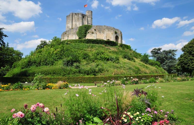 Gisors历史城堡在Normandie 库存照片