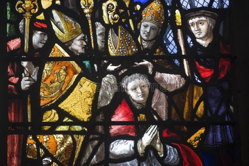 Gisors (Normandie) - glace souillée dans l'église gothique photos libres de droits