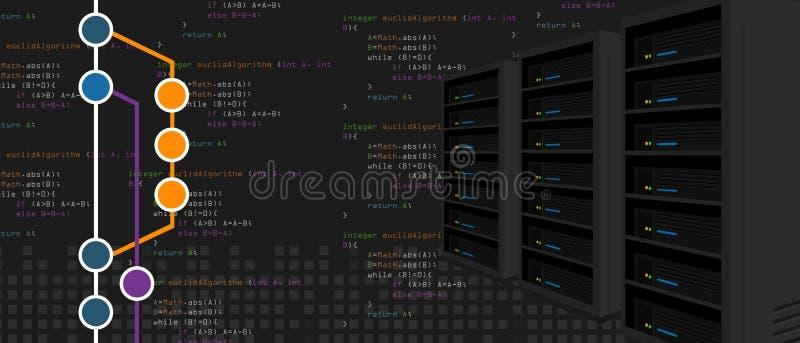 Git贮藏库软件颠覆备用服务器进程用编程和编码与里程碑分支 库存例证