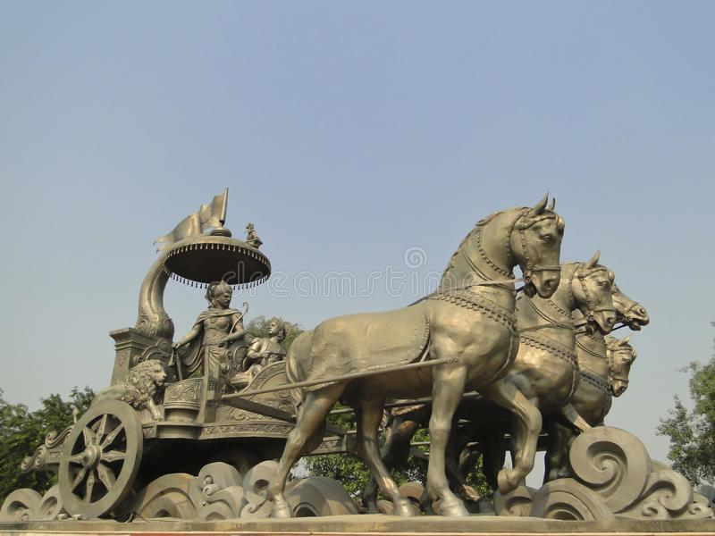Gita Chariot, Kurukshetra, Haryana, Indien stockbilder