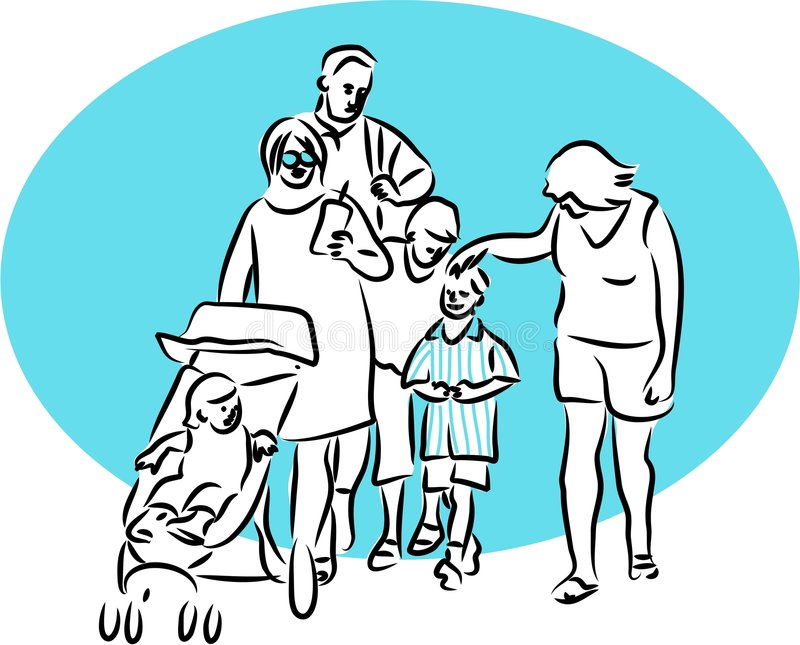 Download Gita della famiglia illustrazione vettoriale. Illustrazione di riga - 125572