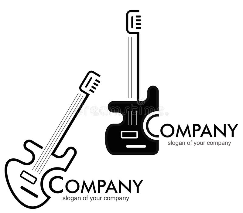 Gitaar - embleem, logotype. stock illustratie