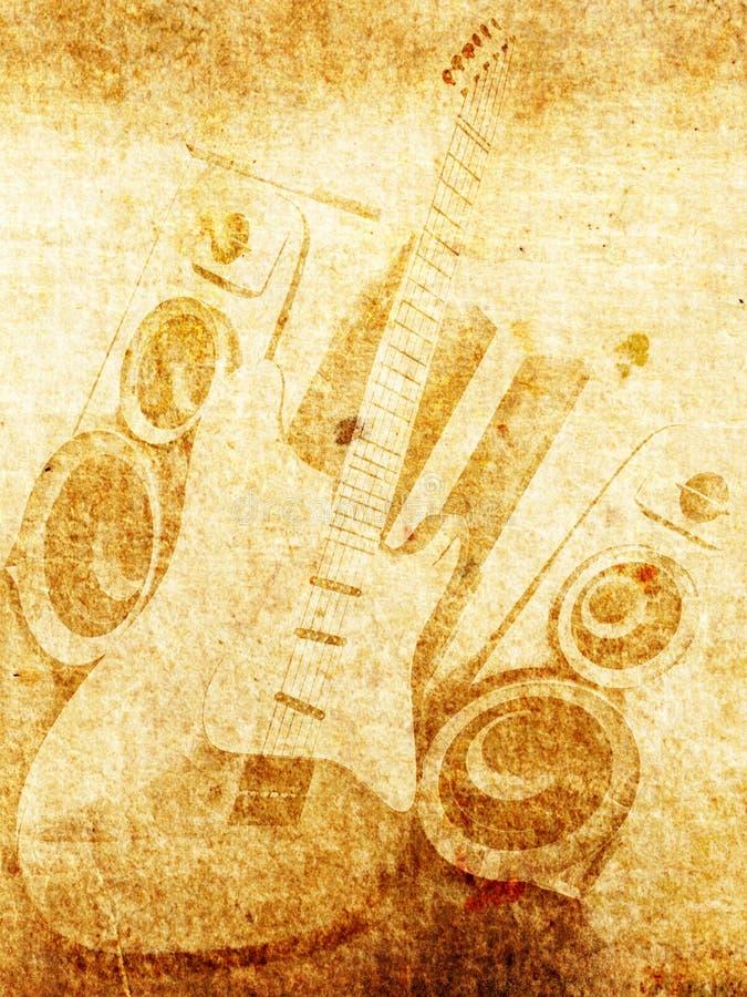 Gitaar en luidspreker royalty-vrije illustratie