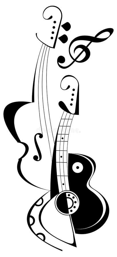 Gitaar en viool - tatoegering vector illustratie