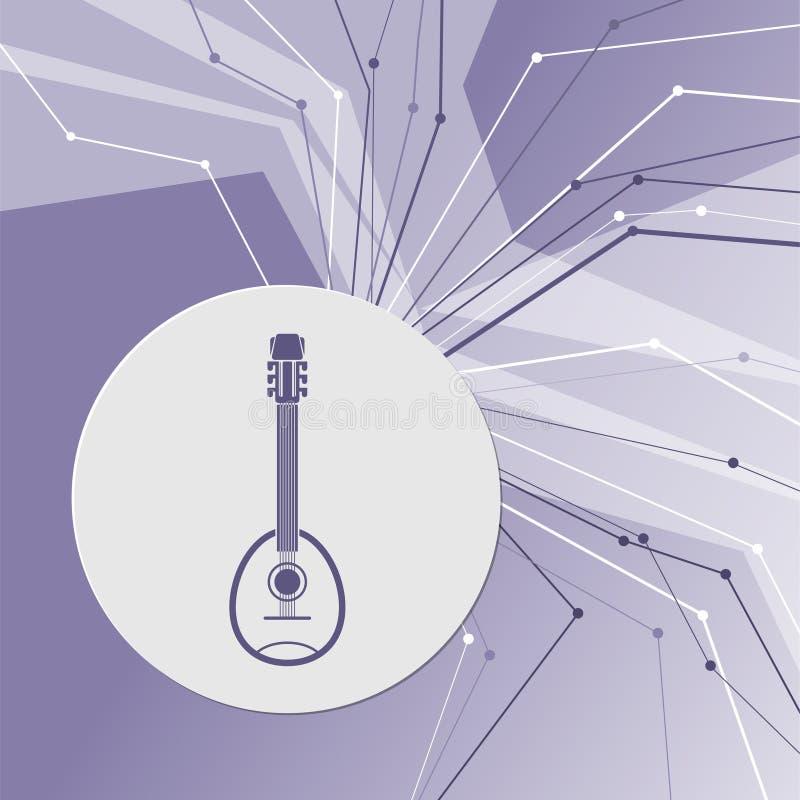 Gitaar, het pictogram van het muziekinstrument op purpere abstracte moderne achtergrond De lijnen in alle richtingen Met ruimte v royalty-vrije illustratie