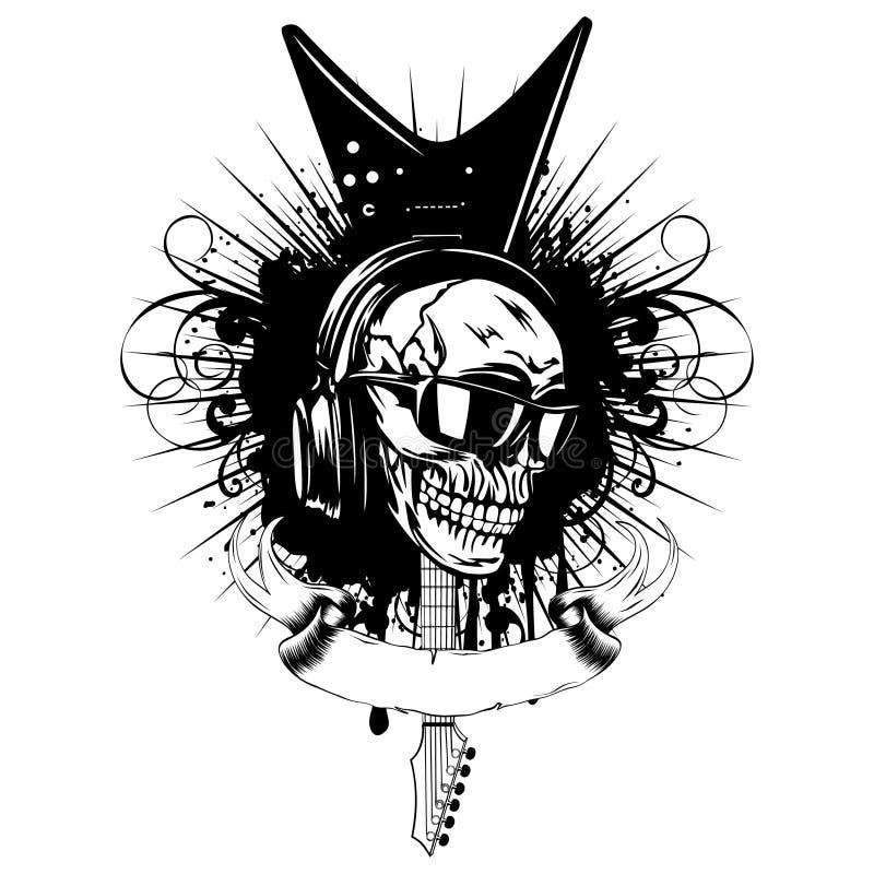 Gitaar skull_var 9 stock illustratie