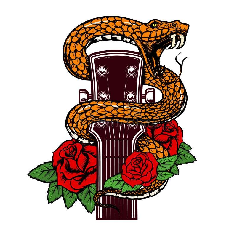 Gitaarhoofd met slang en rozen Ontwerpelement voor affiche, kaart, banner, embleem, t-shirt vector illustratie