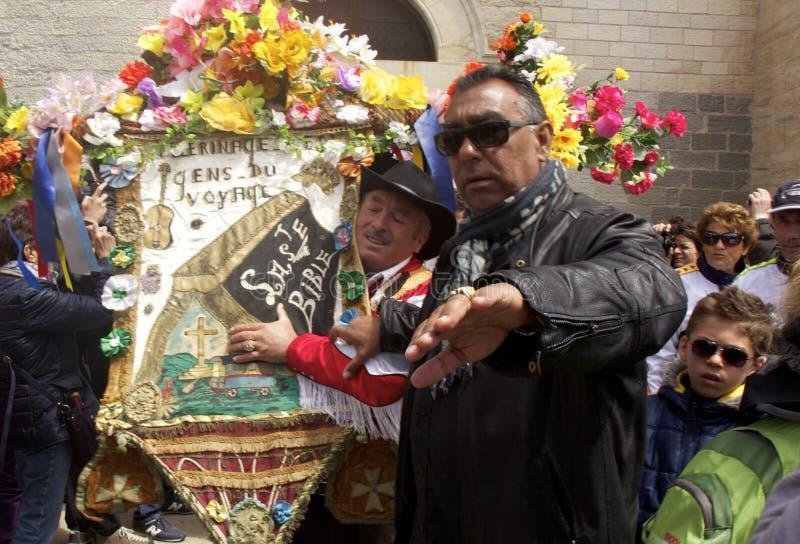 Gitan Pilgrimage, Camargue. Gipsy festival on May 24th-25th at Les Saintes-Maries-de-la-Mer in Camargue (Provence) and Saint Sarah the Gipsy black saint royalty free stock photography