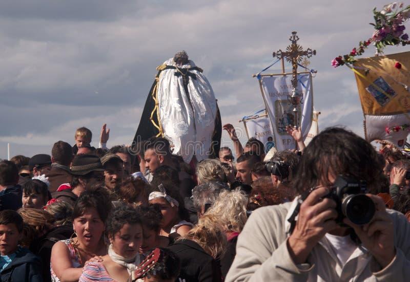 Gitan Pilgrimage, Camargue. Gipsy festival on May 24th-25th at Les Saintes-Maries-de-la-Mer in Camargue (Provence) and Saint Sarah the Gipsy black saint royalty free stock images