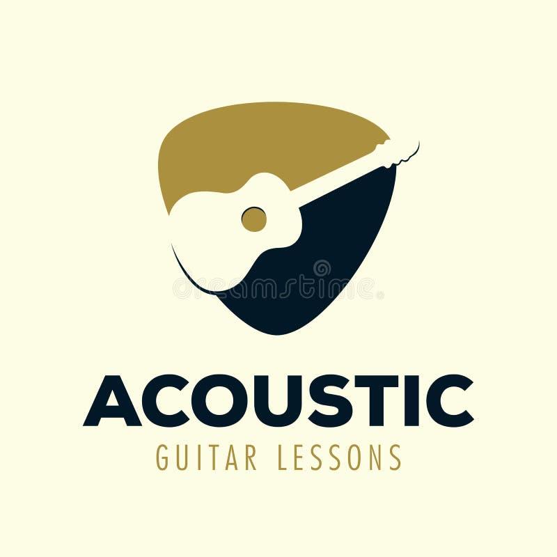 Gitar Akustycznych lekcji logo projekta Wektorowy szablon royalty ilustracja