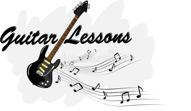 Gitar lekcje - gitara elektryczna z muzycznymi notatkami royalty ilustracja