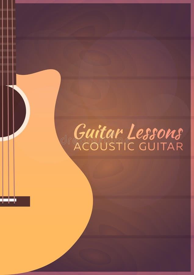 Gitar lekcje, szkoła Wektorowa płaska ilustracja muzyka ilustracja wektor