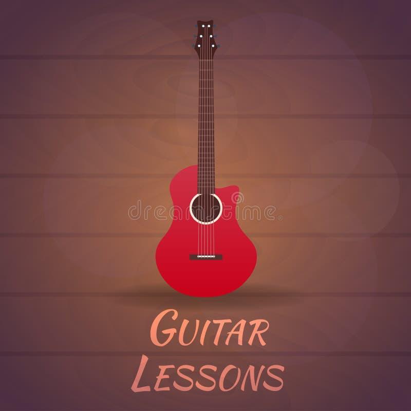 Gitar lekcje, szkoła Wektorowa płaska ilustracja muzyka ilustracji