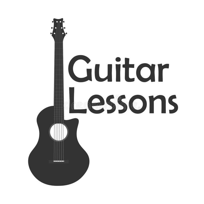 Gitar lekcje, szkolny logo Wektorowa płaska ilustracja muzyka ilustracja wektor