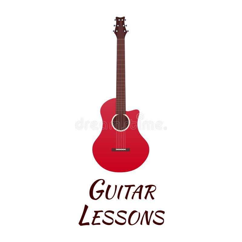 Gitar lekcje, szkolny logo Wektorowa płaska ilustracja muzyka royalty ilustracja