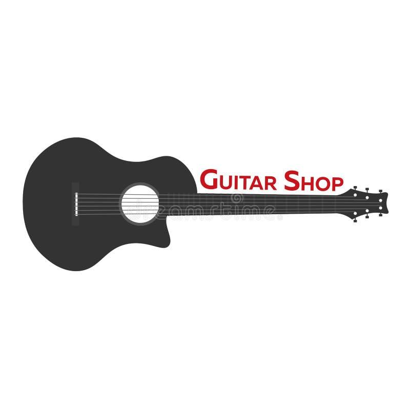 Gitar lekcje, szkolny logo Wektorowa płaska ilustracja muzyka ilustracji