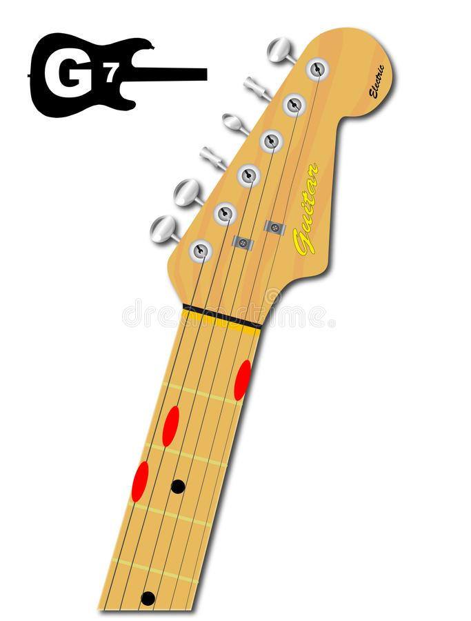 Gitara akord G Siedem ilustracja wektor
