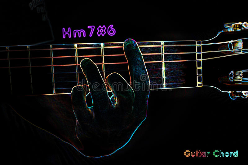 Gitara akord na ciemnym tle royalty ilustracja