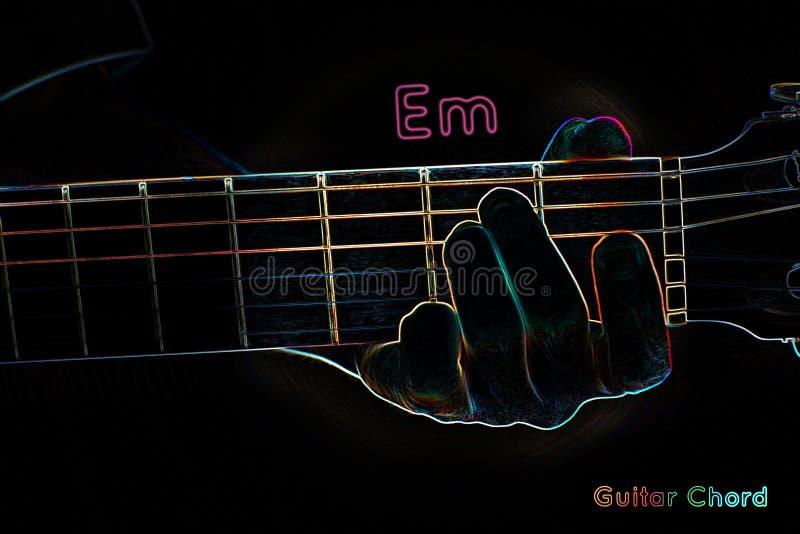 Gitara akord na ciemnym tle ilustracji