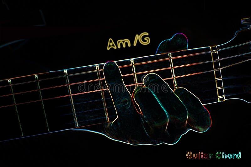 Gitara akord na ciemnym tle ilustracja wektor
