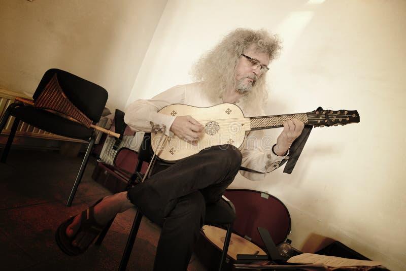 Gitara akustyczna gracz w średniowiecznym Corvin kasztelu Hunedoara obrazy stock