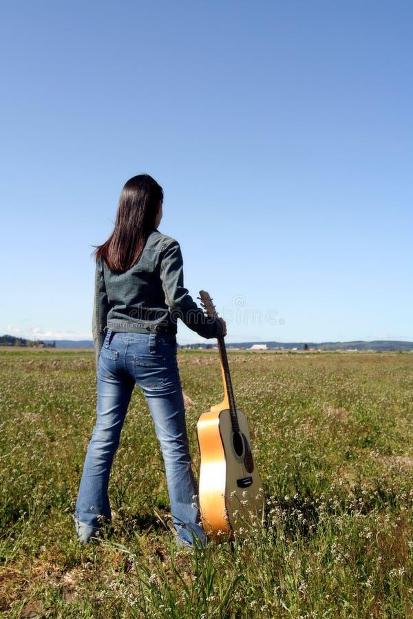 Gitara Gracza Kobieta Obraz Stock