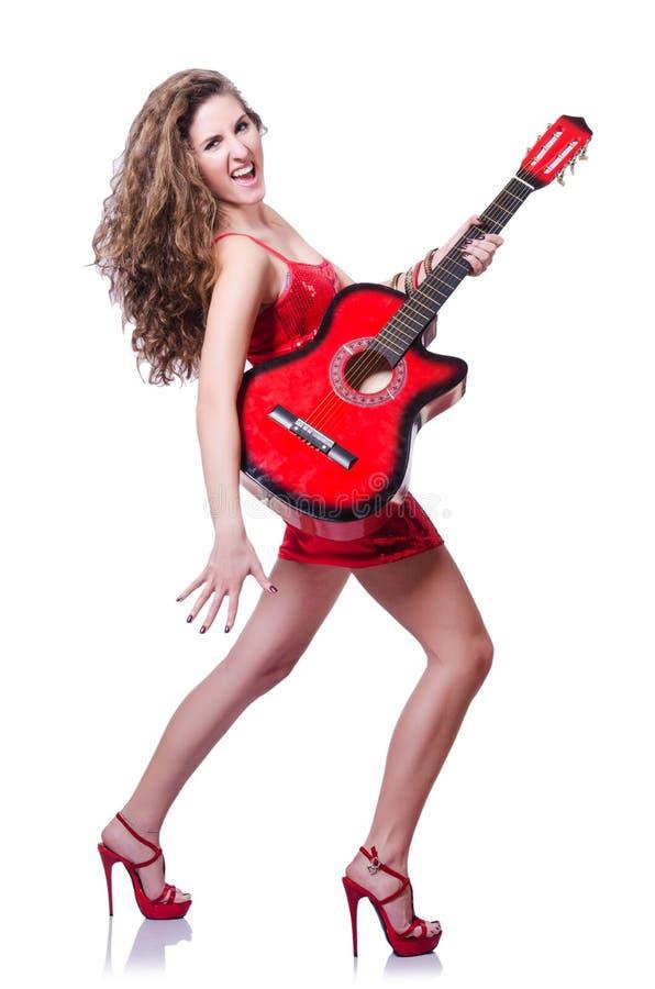 Gitara Gracza Kobieta Zdjęcie Royalty Free