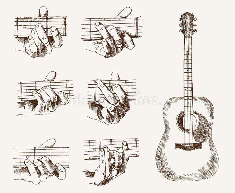 Gitara i akordy royalty ilustracja