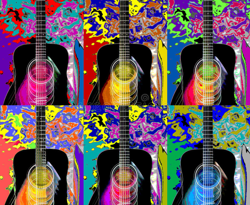 Gitara kolaż obraz royalty free