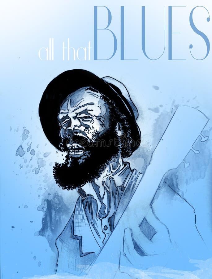 Gitara mężczyzna śpiewa błękity ilustracja wektor