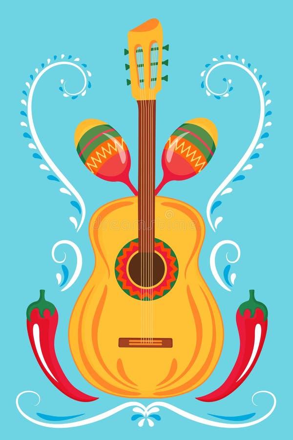 Gitara, marakasy, czerwonego chili pieprz Meksykański druku plakat ilustracja wektor