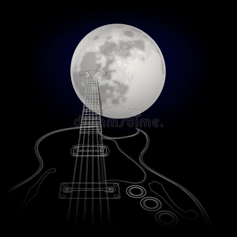 Download Gitara na tle księżyc ilustracji. Ilustracja złożonej z moonlight - 53785380