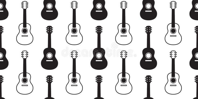 Gitara ukulele powtórki tapety płytki tła bezszwowy deseniowy wektorowy basowy muzyczny szalik odizolowywający graficzny ilustrac royalty ilustracja